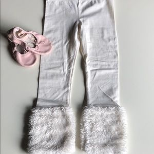 OshKosh | Cream Faux Fur Cuff Leggings | 4T